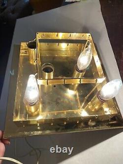 Vintage 12x12 Gold Murano Glass Flushmount Ceiling Chandelier Venini Italy