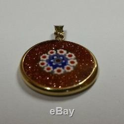 Vintage 18k Solid Yellow Gold Murano Glass Pendant