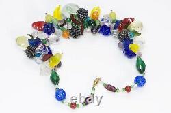 Vintage 1930s Italian Murano Handblown Glass Tutti Frutti Fruit Necklace