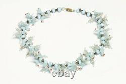Vintage 1930s Venetian Murano Glass Turquoise Blue Love Birds Necklace
