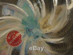 Vintage 1950's Murano Seguso Opalescent Turquoise Cornucopia Glass Vase 25cm