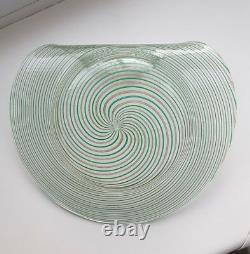 Vintage 1950's Murano filigrana handgrip art glass plate