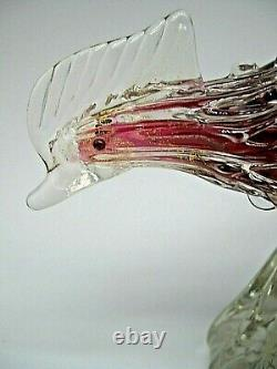 Vintage 1950's with Murano label Seguso gold dust bullicante glass pheasant bird