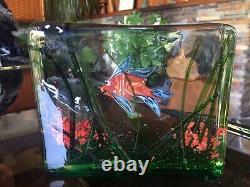 Vintage 1950s 1960s Barbini Cedenese Murano Glass Slab Single Fish Aquarium