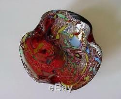 Vintage 1950s Dino Martens Murano Italy Latticino Aventurine Art Glass Bowl
