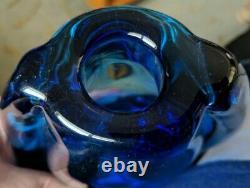 Vintage 1960s MURANO Flavio Poli Sommerso Art Glass Winged Vase Deep Rich Blue