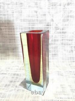 Vintage 1960s Mandruzzato Multi Rich Sommerso Murano Faceted Art Glass Vase 12cm