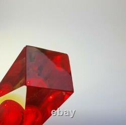Vintage 1960s Mandruzzato Red Sommerso Murano 8 Faceted Art Glass Vase Damaged