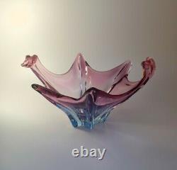 Vintage 1960s Murano Centrepiece Fruit Bowl Multicolour Sommerso Glass Art Piece