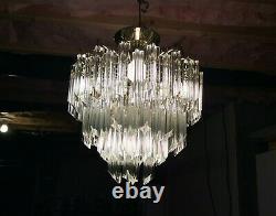 Vintage 1970s Murano Glass Camer Venini Quatro Prism Chandelier 80 Crystals