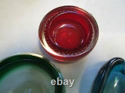 Vintage 3x Retro Italian Murano Art Glass Bowls -ashtray Sommerso 1950's