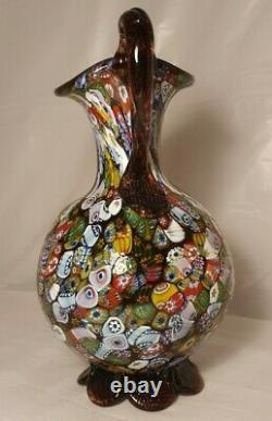 Vintage 50s Fratelli Toso Millefiori Murano Glass Jug Pitcher Vase Multicoloured