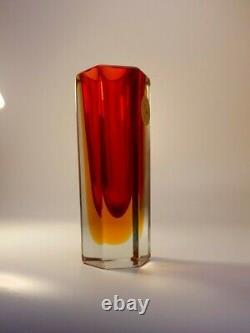 Vintage 60s Mandruzzato Amber/Red Sommerso Murano Hexagon Faceted Art Glass Vase