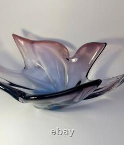 Vintage 60s Murano Centrepiece Flower Bowl Multicolour Sommerso Glass Art Piece