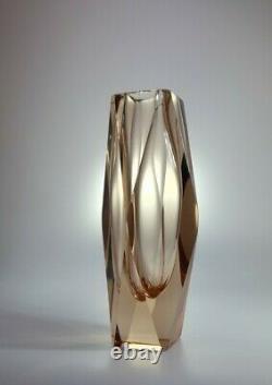 Vintage 70s Alessandro Mandruzzato Amber Sommerso Murano Faceted Art Glass Vase