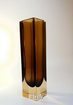 Vintage 70s Alessandro Mandruzzato Brown Sommerso Murano Faceted Art Glass Vase