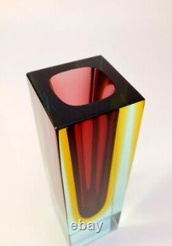 Vintage Alessandro Mandruzzato Multi Sommerso Murano Faceted Art Glass Vase