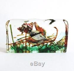 Vintage Alfredo Barbini Cenedese Murano Glass Aquarium Fish Sculpture 1950 As Is