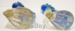 Vintage Alfredo Barbini Murano Bird of Paradise Figurines Pair Cobalt Blue 12