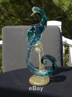 Vintage Alfredo Barbini Murano Glass Birds of Paradise Italy