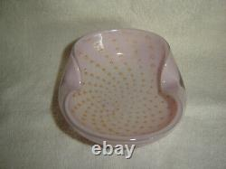 Vintage Alfredo Barbini Murano Italy Pink/Gold Bullicante Glass Bowl Mid-Century
