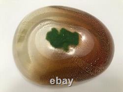 Vintage Alfredo Barbini Murano Orange Glass Gold Flecks Bowl
