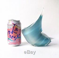 Vintage Alfredo Barbini Powder Blue Murano Glass Seashell Ashtray, 1950s Italy