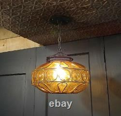 Vintage Amber Bubble Glass Hanging Pendant Light Fixture Blown Glass Murano