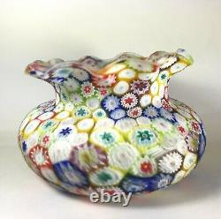 Vintage Antique Murano Millefiori Vase Studio Art Glass Fratelli Toso