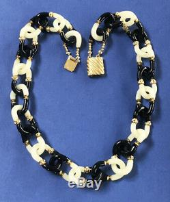 Vintage Archimede Seguso For Chanel 2 Color Murano Glass Chain Necklace 21
