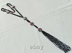 Vintage Art Deco Moretti Millefiori Murano Glass Bead Flapper Necklace