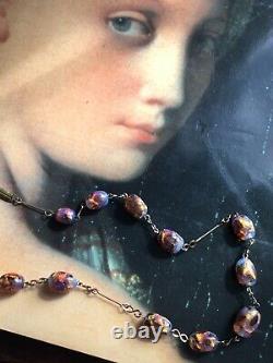Vintage Art Deco Opalescent Fire Opal Foil Glass Venetian Murano Bead Necklace
