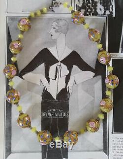 Vintage Art Deco Venetian Murano Wedding Cake Custard Glass Beads Necklace Gift