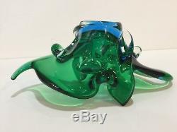 Vintage Art Glass Murano Green & Blue Bowl, 11 1/2 Widest x 5 1/2 x 4 3/4 H