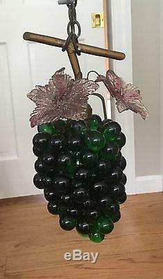 Vintage Art Nouveau Murano Czech Glass Grape Cluster Fruit Figural Chandelier A8