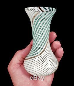 Vintage Aureliano Toso Dino Martens Murano Italy Art Glass Vase Mezza Filigrana
