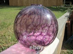 Vintage Awesome Large Murano Purple Amethyst Coin Dot Spot Ball Vase