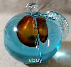 Vintage BARBINI MURANO Peach Single Bookend Aqua Blue Italy Art Glass Figurine