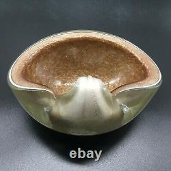 Vintage Barbini Murano Glass White & Gold Fleck Sommerso Ashtray Dish Bowl