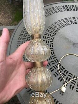 Vintage Barovier & Toso Mid Century Gold Fleck Control Bubble Murano Glass Lamp