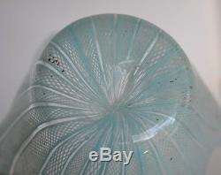 Vintage Blue Venini Fazzoletto Murano Italy Handkerchief Glass Flower Vase