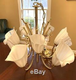 Vintage Brass Chandelier MURANO CALLA LILY GLASS SHADES ITALY White 10 Lite