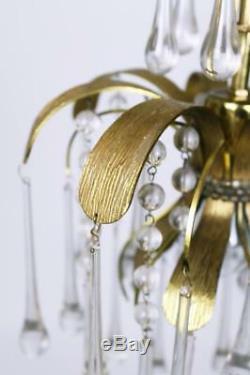 Vintage Brass Leaf Murano Glass Tear Drop Pendant Light from Palwa Germany 1970s