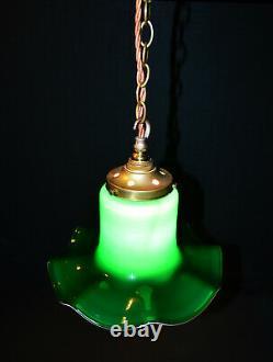 Vintage C-1950s Italian Murano handmade tulip cased glass pendant light lantern
