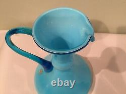 Vintage CARLO MORETTI Empoli Murano Glass Blue Pitcher Wine Carafe MIDCENTURY