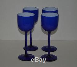 Vintage Carlo Moretti Murano Cased Cobalt Blue Goblets -4