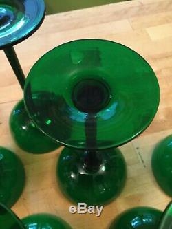 Vintage Carlo Moretti Murano Green Cased Glass (7) Champagne Sherbet Glasses 7