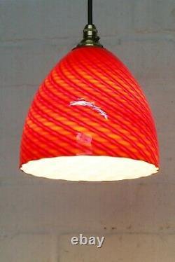 Vintage Ceiling Light Murano Italian Red Spun Glass Pendant & Fittings 2