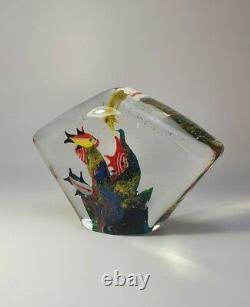Vintage Cenedese Large Murano 1980s Paperweight Fish Aquarium Art Glass Piece