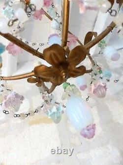 Vintage Chandelier Opalescent Opaline Milky glass Drops Beads Gilt MURANO RARE